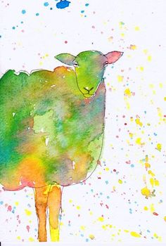 Bright Colourful Sheep Print from an Original Watercolour Painting Watercolor Art ($16)