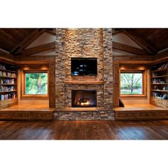 Awesome Stone Fireplace For Lounge Room Cabin Interior Design Ideas... ❤ liked on Polyvore featuring home, home decor, stone home decor, wooden home decor, glass home decor and wood home decor