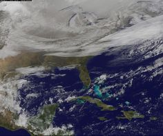 Satellite image of the eastern 2/3 of the USA on 2015-01-07. Only Florida is visible. Clouds behind the frontal boundary stretch from the Carolinas west over the Heartland. A wide band of fallen snow covers the ground from New England west to Montana, with rivers appearing like veins. The image also shows wind-whipped lake-effect snows off the Great Lakes, blowing to the southeast. Brrrr. (Image Credit: NASA/NOAA GOES Project)