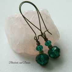 Vintage Style Emerald Crystal Glass Drop by Bluebirdsanddaisies, £5.00