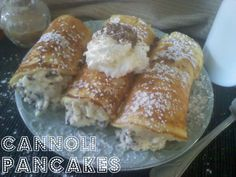 cannoli pancakes with marscapone syrup!