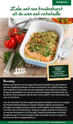 Recept voor zalm met een kruidenkorst uit de oven met ratatouille #Lidl Lidl, Skinny Recipes, Healthy Recipes, Caprese Pasta, Food Inspiration, Love Food, Ratatouille, Brunch, Dinner