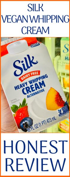 dairy free smoothie Wondering if the new dairy-free, vegan heavy whipping cream alternative from Silk is perfect? I asked the questions and found the answers. Dairy Free Heavy Cream, Non Dairy Whipping Cream, Whipping Cream Substitute, Vegan Heavy Cream, Heavy Cream Recipes, Dairy Free Whipped Cream, Recipes With Whipping Cream, Dairy Free Cool Whip, Oreo Smoothie
