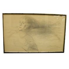 ALEXANDER DOBKIN SIGNED PENCIL SKETCH LONG HAIRED WOMAN-MARKED AS GIFT #Impressionism