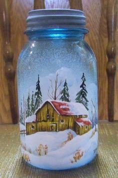Snow scene painted on an old blue mason jar Painting Canning Jars, Bottle Painting, Bottle Art, Painting On Glass Jars, Mason Jar Christmas Decorations, Christmas Mason Jars, Mason Jar Art, Mason Jar Gifts, Painted Wine Bottles