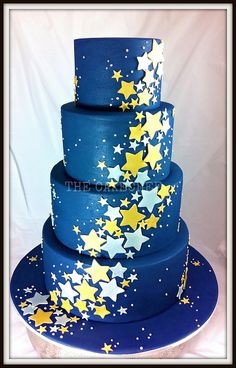 starry starry night a very non traditional wedding cake 4 tier 12 10 8 Pretty Cakes, Beautiful Cakes, Amazing Cakes, Cupcakes, Cupcake Cakes, Galaxy Cake, Traditional Wedding Cakes, Star Cakes, Blue Cakes