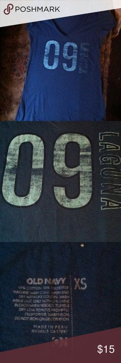 "💕Cute Old Navy Tee🎀 Navy blue v-neck tee made by Old Navy has light blue writing on it ""09 Laguna"". EUC!! Old Navy Tops Tees - Short Sleeve"
