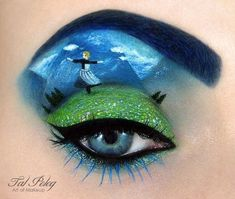 This artist, named Tal Peleg, creates mini paintings using his models' eyelids and face as a canvas.