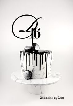 White and black drip cake.