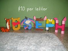 @Erika Rotchford hurry up and have that baby boy!  haha -  Winnie The Pooh Character Letter Art by GunnersNook on Etsy, $10.00