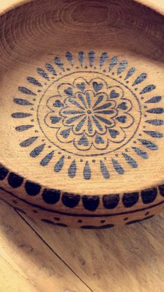 Hand burned wooden bowl dish pyrography patters by RockeryCottage