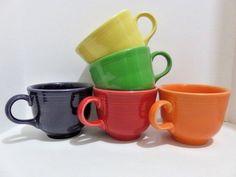 Fiesta *SET OF 5* HLC USA Fiestaware Fiesta Multi Color Tea Cups  #FiestaFiestaware #MidCenturyModern