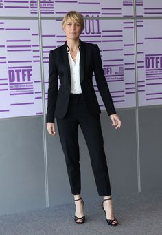Claire Underwood Gives The Power Suit A Makeover - Forbes  replace the strappy sandal with a pump