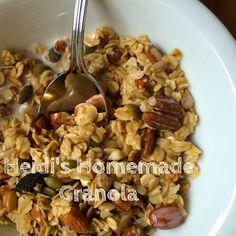 Homemade Granola recipe: Try it with vanilla almond milk, or on top of a few dollops of plain yogurt!