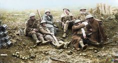 Assault on Passchendaele 12 October - 6 November  A group of lightly wounded Canadians (possibly 3rd Division) resting for a smoke near Heine House pillbox.  (Photo source - © IWM CO 2212) Canadian Official photographer Rider-Rider, W (Lt)