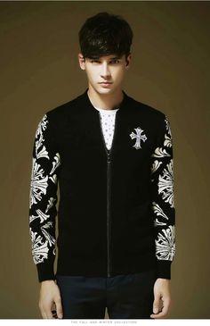 Men Cross Pattern Open Front Cotton Zipper Knitwear Jacket