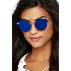245b4d58344 Spitfire Trip Hop Blue Mirrored Sunglasses ( 45) ❤ liked on Polyvore  featuring accessories
