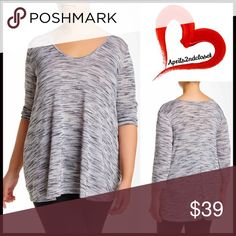 """Tunic Tee Pullover 💟NEW WITH TAGS💟   Tunic Tee Pullover  * Relaxed slouchy fit   * Incredibly soft, stretch-to-fit textured T-Shirt fabric   * Scoop neck & 3/4 long sleeves  * Approx 32"""" long  * Heathered Marled  * True to size, made in the USA  Fabric: polyester, rayon & spandex                                                 Color: White, Black Item:  # Oversized boyfriend cape marled 🚫No Trades🚫 ✅ Offers Considered*/Bundle Discounts✅  *Please use the blue 'offer' button to submit an…"""