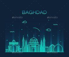 Baghdad Skyline Vector Illustration Linear Style by gropgrop Baghdad skyline detailed silhouette Trendy vector illustration linear style