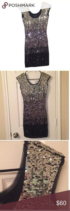 White House | black market sequin dress Stretchy sequin dress. Only worn once. Lined inside. Many of my listing can be found for a lower price on Tradesy/Ⓜ️ercari since they take less commission and I can control the shipping cost as well. Comment on the post if you'd like a link‼️I can also add any items you can't find to those places White House Black Market Dresses Mini