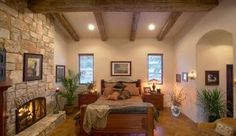 Austin home builder Master Suite with Fireplace