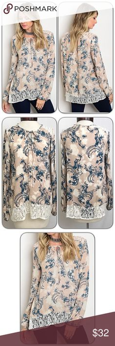 """Flowy Floral Lace Tie Front Tunic Blouse Top SMLXL Loving this flowy floral lace detail tie front tunic blouse. Tannish blush, ivory & navy textured polyester. Lace shoulders & hem. Relaxed fit - Lightweight but not sheer. Love pieces that can be worn all seasons!    Small (Can fit M) 2/4/6 Bust 32-34-36 Length 26""""  Medium (Can fit L) 8/10 Bust 36-38-40 Length 26.5""""  Large (Can fit XL) 12/14 Bust 40-42-44 Length 27"""" Tops"""