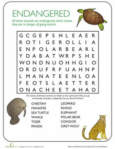 Animal Word Search Endangered Species is part of Endangered Animal crafts - Help your child learn a little about endangered species and why they're in danger with this printable word search Extinct Animals, Zoo Animals, Animals For Kids, Animals Planet, Animal Worksheets, Worksheets For Kids, Therapy Worksheets, School Worksheets, Writing Worksheets