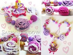 Nursing necklace with toy Flower Fairy - Teething necklace - Breastfeeding Necklace - Crochet Necklace - Gift for Babywearing Moms by ForYourBabyWithLove on Etsy