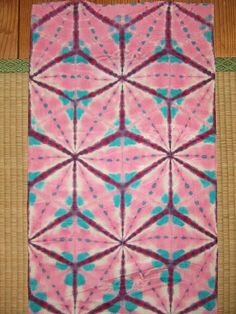 Vintage kimono silk itajime shibori panel
