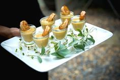 Salt-baked shrimp with cream of corn shooter