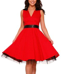 Look at this HEARTS & ROSES LONDON Red & Black Polka Dot A-Line Dress - Women on #zulily today!