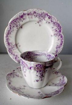4 WILEMAN FOLEY SHELLEY CHINA #5898 PURPLE FERN PRINT TRIOS CUPS & PLATES c1910