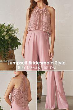 Jasmine Bridal JB Jumpsuit Bridesmaid Style Jas - Jumpsuits and Romper Jumpsuit Hijab, Bridal Jumpsuit, Halter Jumpsuit, Jumpsuit Outfit, Simple Bridesmaid Dresses, Bridesmaid Outfit, Wedding Bridesmaids, Bridal Dresses, Hijab Dress Party