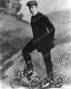 Young Man On Pedal Roller Skates Vintage 8x10 Reprint Of Old Photo