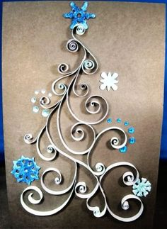 2014 Quilling outline Christmas tree with snowflakes and crystals - Frozen paper craft - Love it by millerje