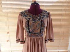 / Young Edwardian mini bohemian dress size XS S 1970s Hippie, Bell Sleeves, Bell Sleeve Top, Gunne Sax, Edwardian Fashion, Velvet Ribbon, Hippie Chic, Boho Dress, 1960s