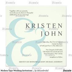 Modern Type Wedding Invitations Ivory Blue Gray