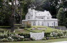 Kate Reid Landscape Design.. white house...white  gate... white flowers