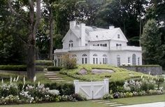 Kate Reid Landscape Design.. white house...white gate... white flowers