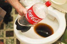 Clean your toilet... with COKE     Pour Coke into the bowl. Pour it around the rim so it flows over the stains around the inside of the bowl.  2. Let it sit for at least an hour. The acids in the Coke will break down the stains.For extra cleaning power, let the Coke sit in the toilet overnight.3. Optionally, clean the toilet with a brush. If there are lots of stubborn stains, you may need to use a brush to further loosen them.