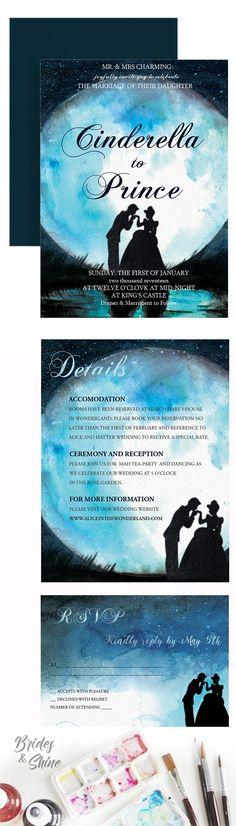 Cinderella Wedding Invitation- Disney watercolor wedding stationery Disney Wedding Invitations, Watercolor Wedding Invitations, Wedding Invitation Suite, Wedding Stationery, Invites, Watercolor Disney, Watercolor Artwork, Cinderella Wedding, Wedding Day