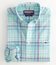 Men's Button Down Shirts: Tucker Sport Shirt: Naval Madras  – Vineyard Vines