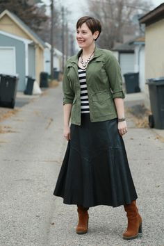 Already Pretty outfit featuring military jacket, striped tee shirt, leather midi skirt, brown suede boots, rhinestone necklace