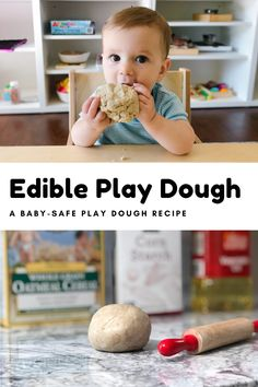 Edible Sensory Play, Baby Sensory Play, Baby Play, Edible Play Dough, Food Activities For Toddlers, Playdough Activities, Infant Activities, Best Homemade Playdough Recipe, Infant Toddler Classroom