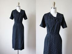 50s Dress - Vintage 1950s Cocktail Dress - Black Polka Dot Sarong Bombshell Dress L XL - Dotty Dress by jumblelaya on Etsy