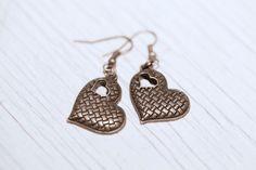 Heart earrings $9.00, via Etsy.