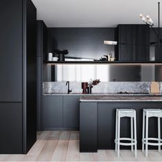 """1,819 Likes, 27 Comments - Dot➕Pop Interiors - Eve Gunson (@dotandpop) on Instagram: """"Black kitchens, my love ❤️ Raines Residences... Architecture and Interiors @fieldwork_architects…"""""""