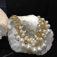Chic and Glamorous! This pearl statement necklace is perfect for cocktails! Pair it with your favorite little black dress.