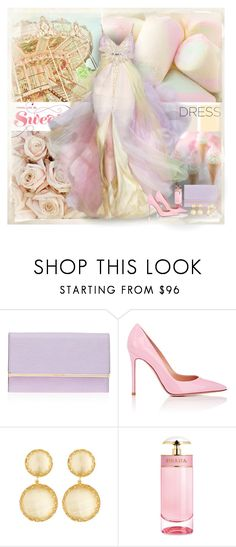 """""""Dreamy Dresses"""" by dezaval ❤ liked on Polyvore featuring Cotton Candy, Elie Saab, Henri Bendel, Gianvito Rossi, Larkspur & Hawk and Prada"""