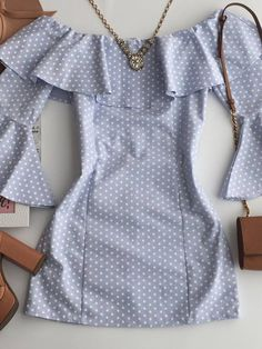blue and white polka dot dress with bell sleeves - New York City Fashion Dress Outfits, Casual Dresses, Short Dresses, Casual Outfits, Girl Outfits, Fashion Dresses, Cute Outfits, Cute Fashion, Girl Fashion